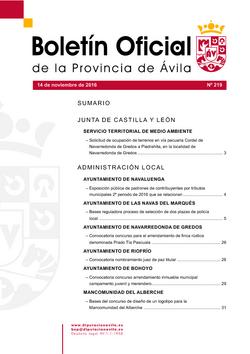 Boletín Oficial de la Provincia del lunes, 14 de noviembre de 2016