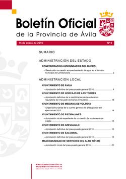 Boletín Oficial de la Provincia del viernes, 15 de enero de 2016