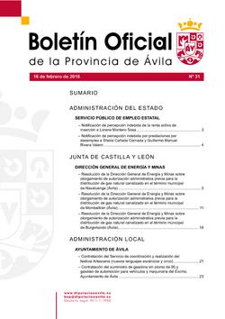 Boletín Oficial de la Provincia del martes, 16 de febrero de 2016