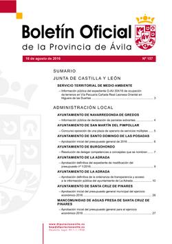 Boletín Oficial de la Provincia del martes, 16 de agosto de 2016