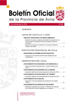 Boletín Oficial de la Provincia del viernes, 16 de diciembre de 2016