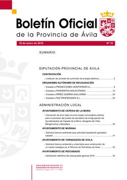 Boletín Oficial de la Provincia del lunes, 18 de enero de 2016