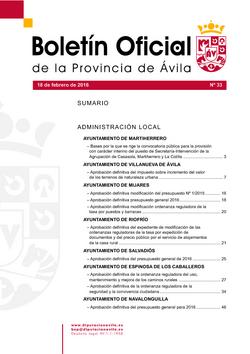 Boletín Oficial de la Provincia del jueves, 18 de febrero de 2016
