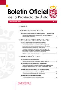 Boletín Oficial de la Provincia del lunes, 18 de abril de 2016