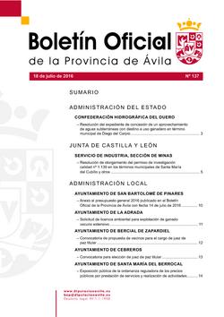 Boletín Oficial de la Provincia del lunes, 18 de julio de 2016
