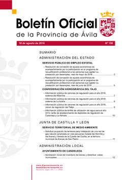Boletín Oficial de la Provincia del viernes, 19 de agosto de 2016