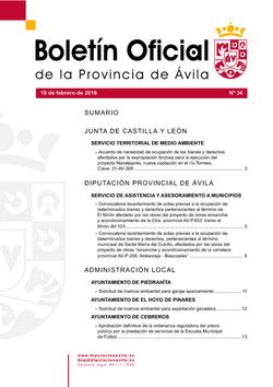 Boletín Oficial de la Provincia del viernes, 19 de febrero de 2016