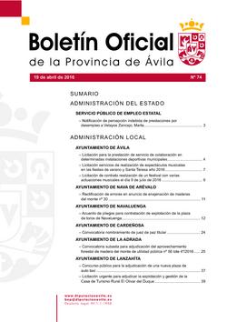 Boletín Oficial de la Provincia del martes, 19 de abril de 2016
