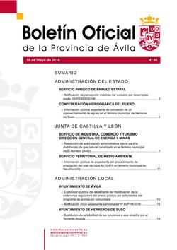 Boletín Oficial de la Provincia del jueves, 19 de mayo de 2016