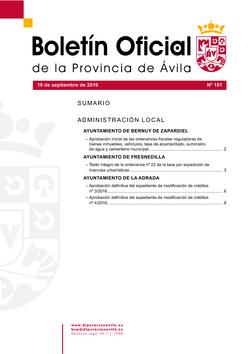 Boletín Oficial de la Provincia del lunes, 19 de septiembre de 2016