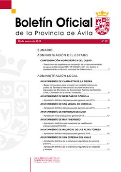 Boletín Oficial de la Provincia del miércoles, 20 de enero de 2016