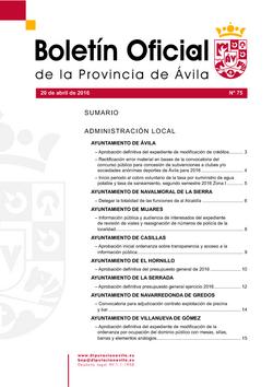 Boletín Oficial de la Provincia del miércoles, 20 de abril de 2016