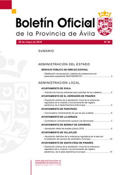 Boletín Oficial de la Provincia del viernes, 20 de mayo de 2016