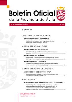 Boletín Oficial de la Provincia del martes, 20 de septiembre de 2016