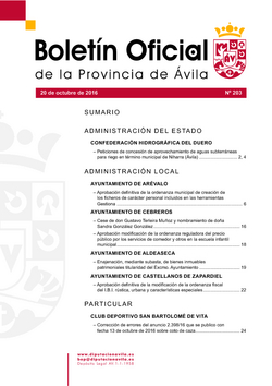 Boletín Oficial de la Provincia del jueves, 20 de octubre de 2016