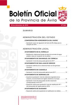 Boletín Oficial de la Provincia del martes, 20 de diciembre de 2016