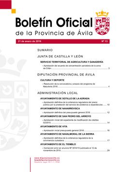 Boletín Oficial de la Provincia del jueves, 21 de enero de 2016