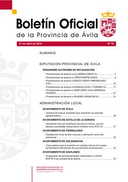 Boletín Oficial de la Provincia del jueves, 21 de abril de 2016