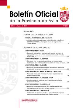Boletín Oficial de la Provincia del viernes, 21 de octubre de 2016