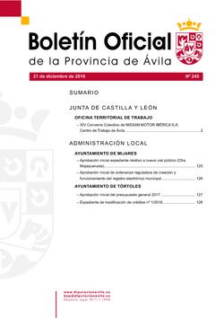 Boletín Oficial de la Provincia del miércoles, 21 de diciembre de 2016