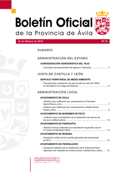 Boletín Oficial de la Provincia del lunes, 22 de febrero de 2016