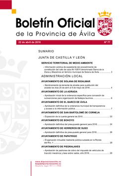 Boletín Oficial de la Provincia del viernes, 22 de abril de 2016