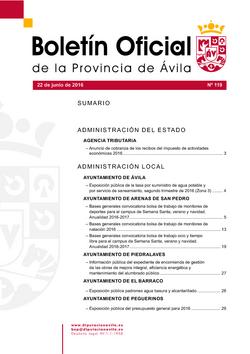 Boletín Oficial de la Provincia del miércoles, 22 de junio de 2016