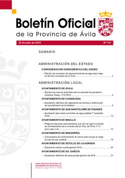Boletín Oficial de la Provincia del viernes, 22 de julio de 2016
