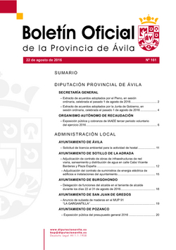Boletín Oficial de la Provincia del lunes, 22 de agosto de 2016