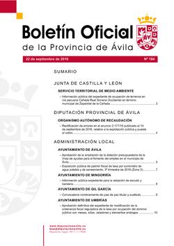 Boletín Oficial de la Provincia del jueves, 22 de septiembre de 2016