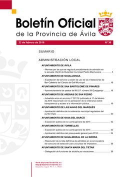 Boletín Oficial de la Provincia del martes, 23 de febrero de 2016