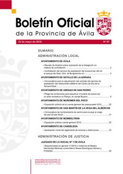 Boletín Oficial de la Provincia del lunes, 23 de mayo de 2016
