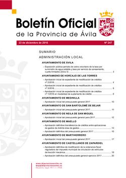 Boletín Oficial de la Provincia del viernes, 23 de diciembre de 2016