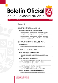 Boletín Oficial de la Provincia del lunes, 25 de enero de 2016