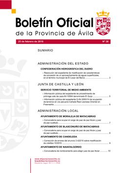Boletín Oficial de la Provincia del jueves, 25 de febrero de 2016