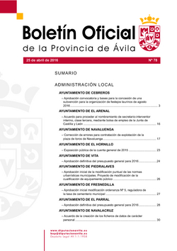 Boletín Oficial de la Provincia del lunes, 25 de abril de 2016