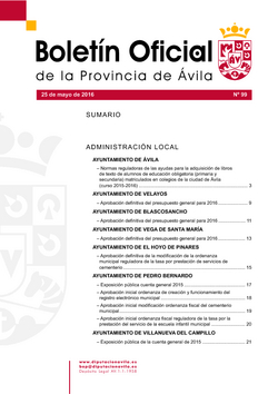 Boletín Oficial de la Provincia del miércoles, 25 de mayo de 2016