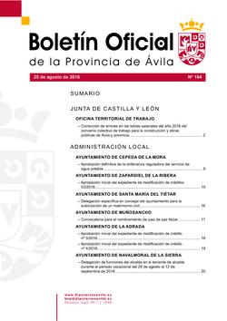 Boletín Oficial de la Provincia del jueves, 25 de agosto de 2016