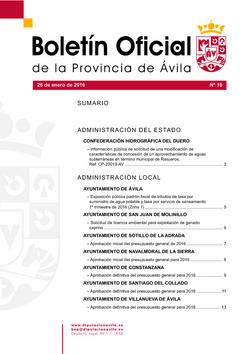 Boletín Oficial de la Provincia del martes, 26 de enero de 2016