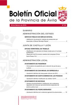 Boletín Oficial de la Provincia del viernes, 26 de febrero de 2016