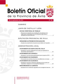 Boletín Oficial de la Provincia del lunes, 26 de septiembre de 2016