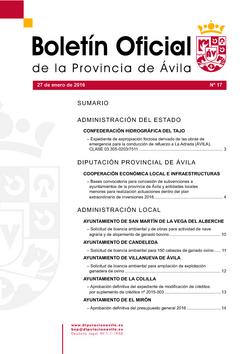 Boletín Oficial de la Provincia del miércoles, 27 de enero de 2016