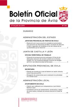 Boletín Oficial de la Provincia del miércoles, 27 de julio de 2016