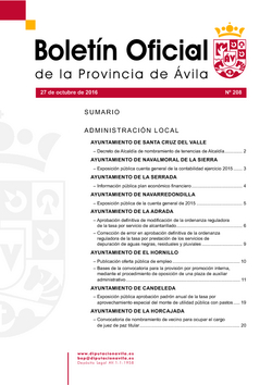 Boletín Oficial de la Provincia del jueves, 27 de octubre de 2016