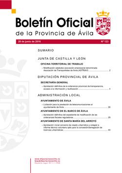 Boletín Oficial de la Provincia del martes, 28 de junio de 2016