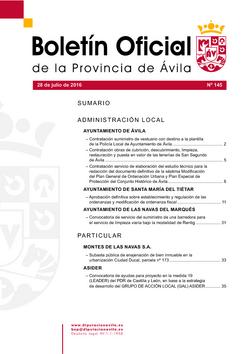 Boletín Oficial de la Provincia del jueves, 28 de julio de 2016