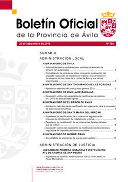 Boletín Oficial de la Provincia del miércoles, 28 de septiembre de 2016
