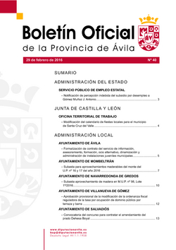 Boletín Oficial de la Provincia del lunes, 29 de febrero de 2016