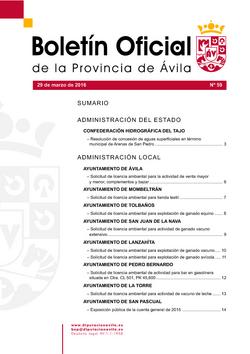 Boletín Oficial de la Provincia del martes, 29 de marzo de 2016