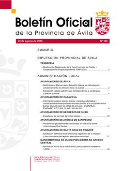 Boletín Oficial de la Provincia del lunes, 29 de agosto de 2016